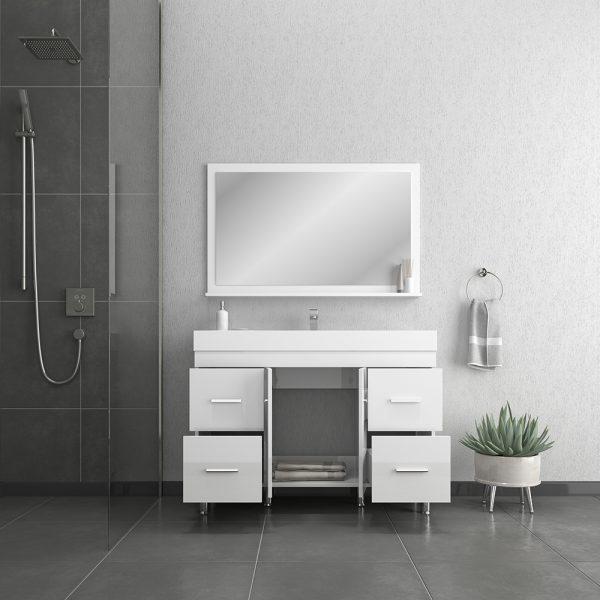Alya Bath Ripley 48 inch Modern Bathroom Vanity, White