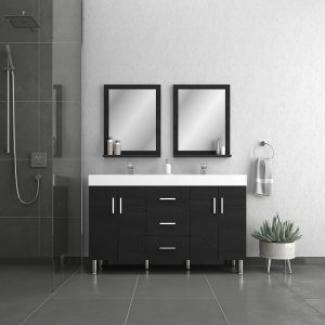 Alya Bath Ripley Modern 56 inch Double Bathroom Vanity, Black