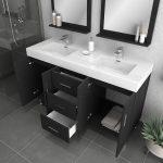 Alya Bath Ripley Modern 56 inch Double Bathroom Vanity, Black 4