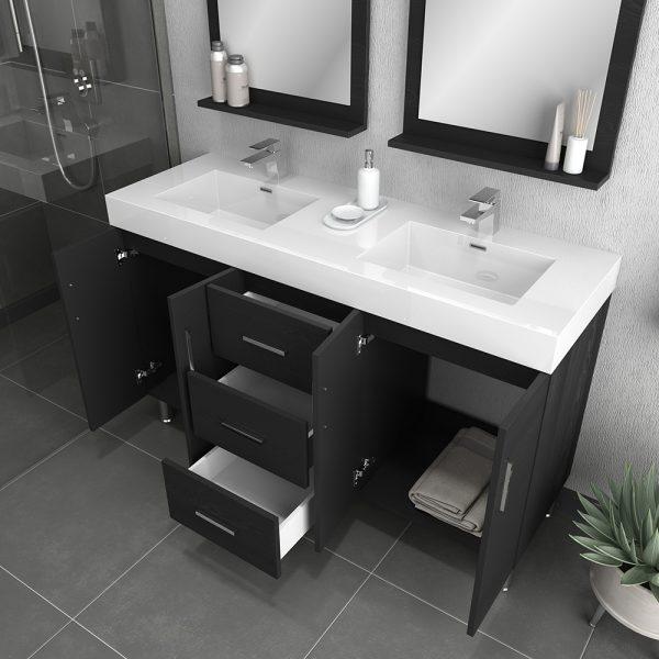 Alya Bath Ripley Modern 56 inch Double Bathroom Vanity, Black