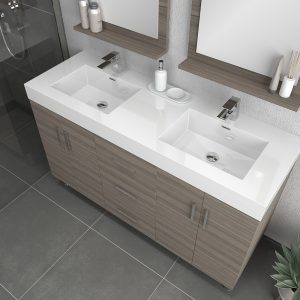 Alya Bath Ripley Modern 56 inch Double  Bathroom Vanity, Gray