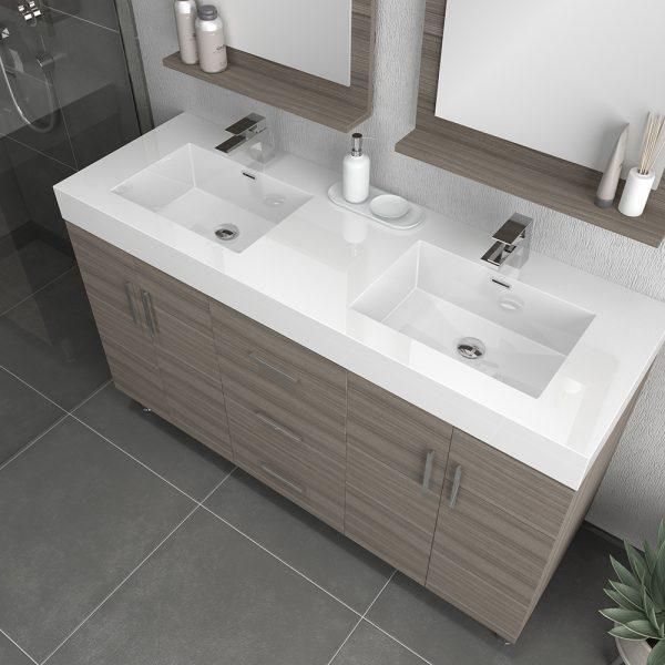 Alya Bath Ripley Modern 56 inch Double  Bathroom Vanity, Gray
