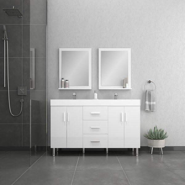 Alya Bath Ripley Modern 56 inch Double Bathroom Vanity, White