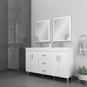 Alya Bath Ripley Modern 56 inch Double Bathroom Vanity, White