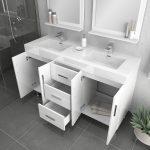 Alya Bath Ripley Modern 56 inch Double Bathroom Vanity, White 4