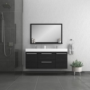 Alya Bath Ripley 54 inch Wall Mounted Bathroom Vanity, Black