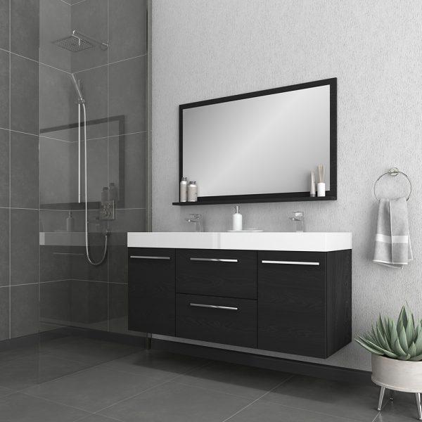 Alya Bath Ripley 54 inch Wall Mounted Bathroom Vanity, Black