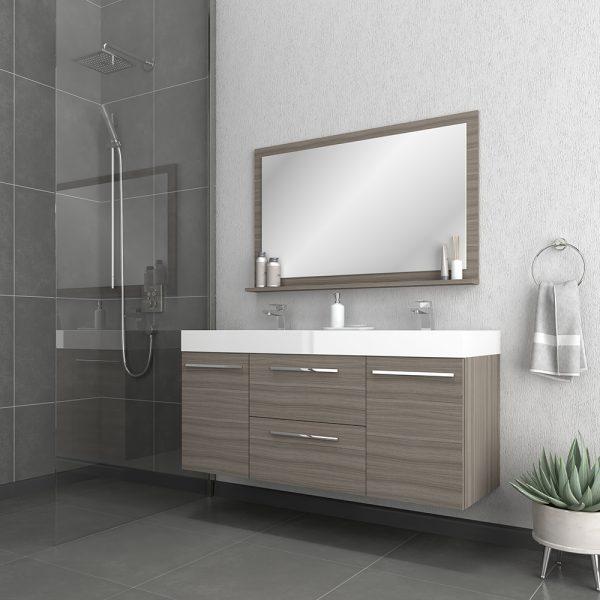 Alya Bath Ripley 54 inch Wall Mounted Bathroom Vanity, Gray