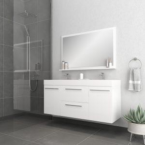 Alya Bath Ripley 54 inch Wall Mounted Bathroom Vanity, White