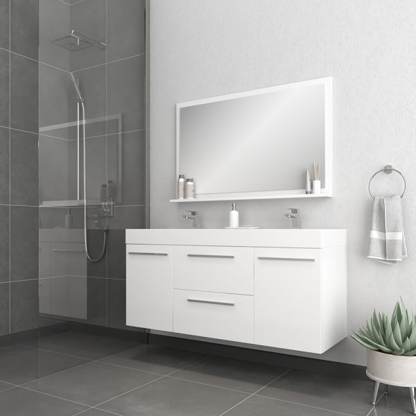 Alya Bath Ripley 54 inch Wall Mounted Bathroom Vanity, White