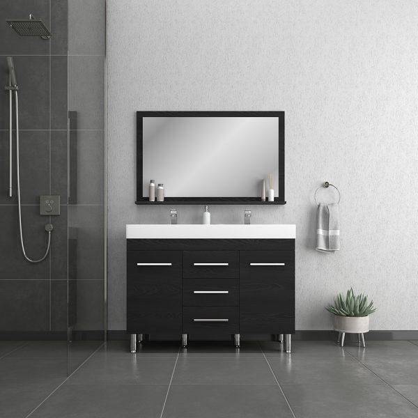 Alya Bath Ripley 48 inch Double Bathroom Vanity, Black