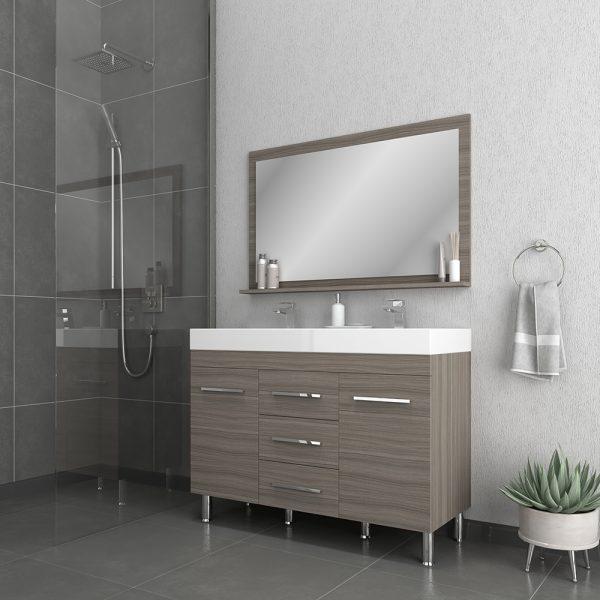 Alya Bath Ripley 48 inch Double Bathroom Vanity, Gray