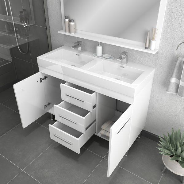 Alya Bath Ripley 48 inch Double Bathroom Vanity, White