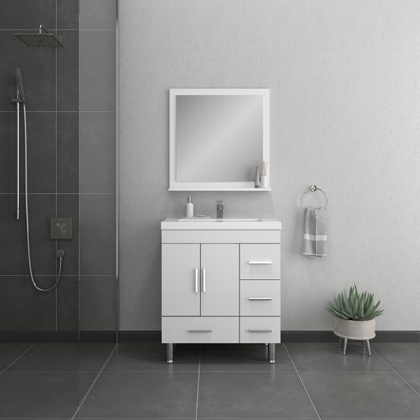 Alya Bath Ripley 30 inch Bathroom Vanity with Drawers, White