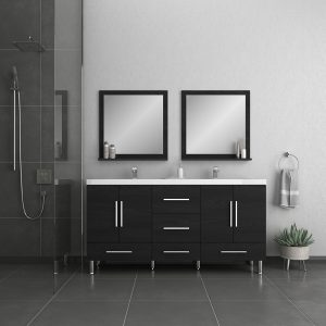 Alya Bath Ripley Modern 67 inch Double Bathroom Vanity, Black