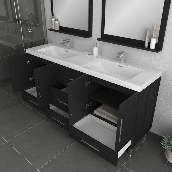 Alya Bath Ripley Modern 67 inch Double Bathroom Vanity, Black