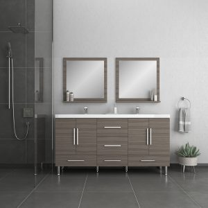 Alya Bath Ripley Modern 67 inch Double Bathroom Vanity, Gray