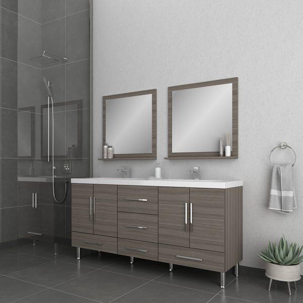 Alya Bath Ripley Modern 67 inch Double Bathroom Vanity, Gray