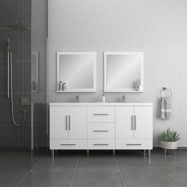 Alya Bath Ripley Modern 67 inch Double Bathroom Vanity, White