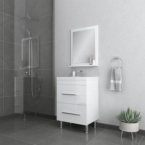 Alya Bath Ripley 24 inch Modern Bathroom Vanity, White