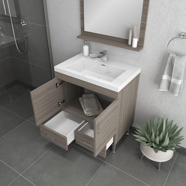 Alya Bath Ripley 30 inch Modern Bathroom Vanity, Gray