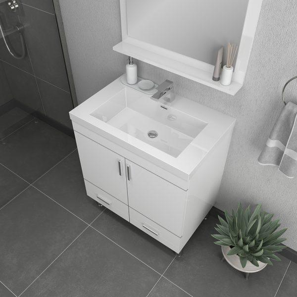 Alya Bath Ripley 30 inch Modern Bathroom Vanity, White