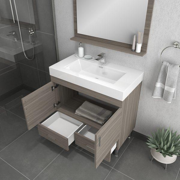 Alya Bath Ripley 36 inch Modern Bathroom Vanity, Gray
