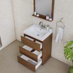 Alya Bath Paterno 24 inch Modern Bathroom Vanity, Rosewood 5