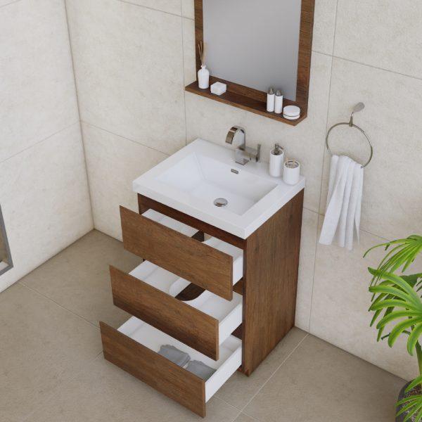 Alya Bath Paterno 24 inch Modern Bathroom Vanity, Rosewood