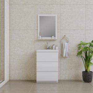Alya Bath Paterno 24 inch Modern Bathroom Vanity, White