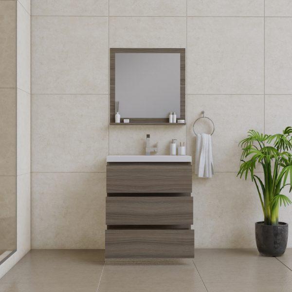 Alya Bath Paterno 30 inch Modern Bathroom Vanity, Gray