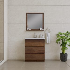 Alya Bath Paterno 30 inch Modern Bathroom Vanity, Rosewood