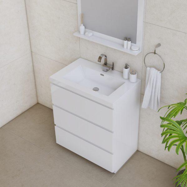 Alya Bath Paterno 30 inch Modern Bathroom Vanity, White