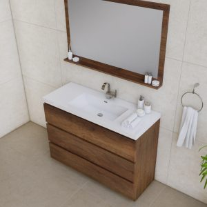 Alya Bath Paterno 48 inch Modern Bathroom Vanity, Rosewood