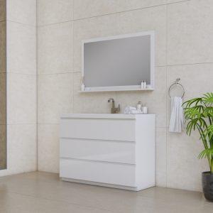 Alya Bath Paterno 48 inch Modern Bathroom Vanity, White