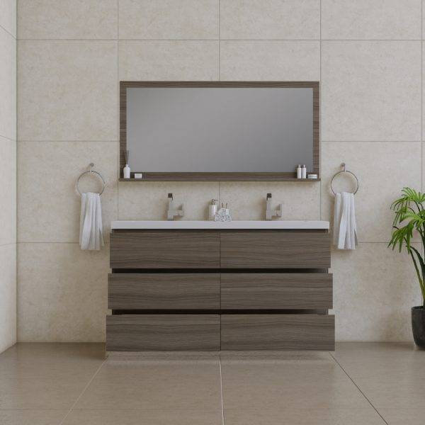 Alya Bath Paterno 60 inch Double Bathroom Vanity, Gray