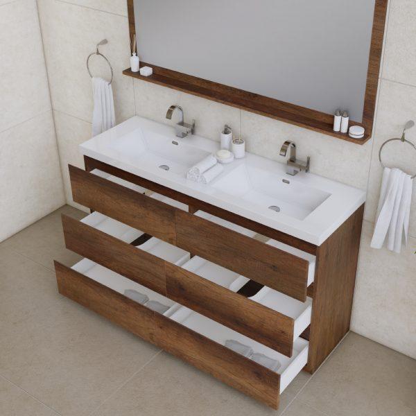 Alya Bath Paterno 60 inch Double Bathroom Vanity, Rosewood