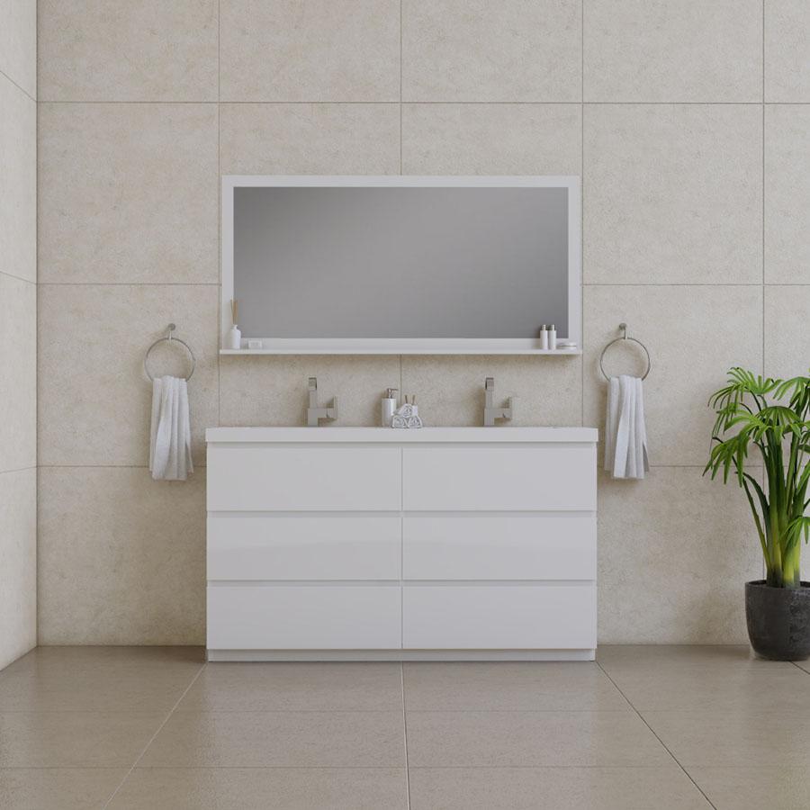 Alya Bath Paterno 60 inch Double Bathroom Vanity, White