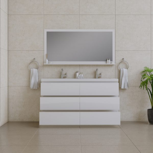 Alya Bath Paterno 60 inch Double Bathroom Vanity, White
