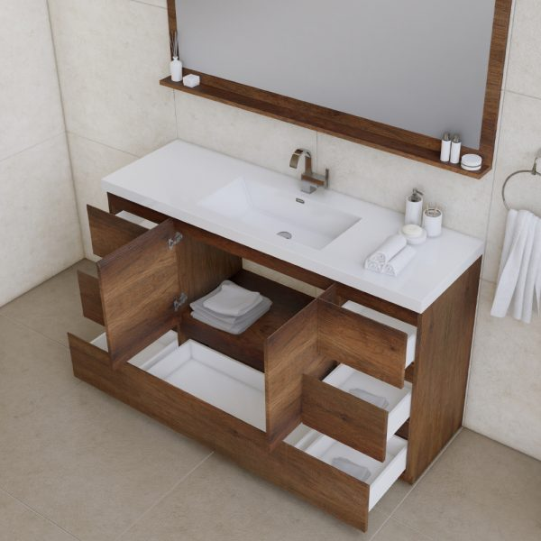 Alya Bath Paterno 60 inch Single Bathroom Vanity, Rosewood