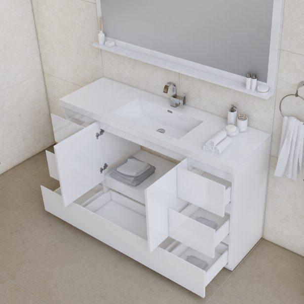 Alya Bath Paterno 60 inch Single Bathroom Vanity, White