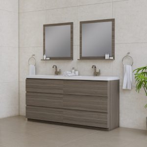 Alya Bath Paterno 72 inch Double Bathroom Vanity, Gray