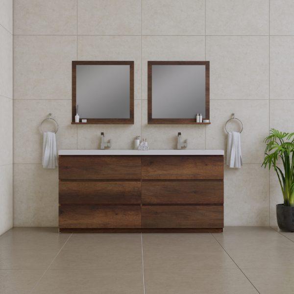 Alya Bath Paterno 72 inch Double Bathroom Vanity, Rosewood