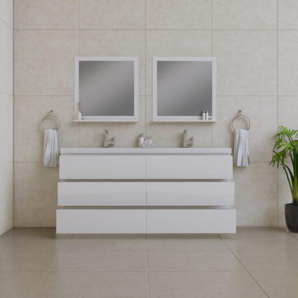 Alya Bath Paterno 72 inch Double Bathroom Vanity, White