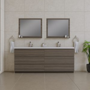 Alya Bath Paterno 84 inch Double Bathroom Vanity, Gray
