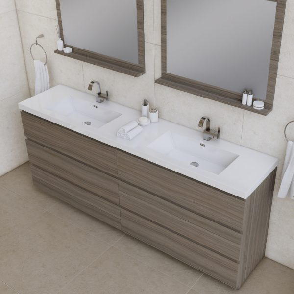 Alya Bath Paterno 84 inch Double Bathroom Vanity, Gray