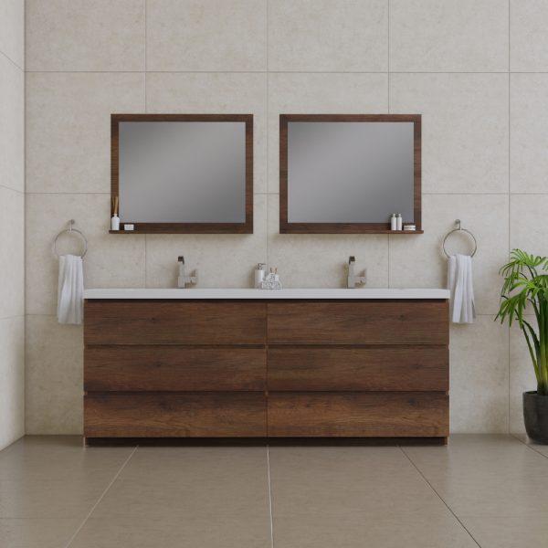 Alya Bath Paterno 84 inch Double Bathroom Vanity, Rosewood