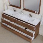 Alya Bath Paterno 84 inch Double Bathroom Vanity, Rosewood 5