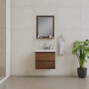 Alya Bath Paterno 24 Inch Wall Mount Bathroom Vanity Rosewood