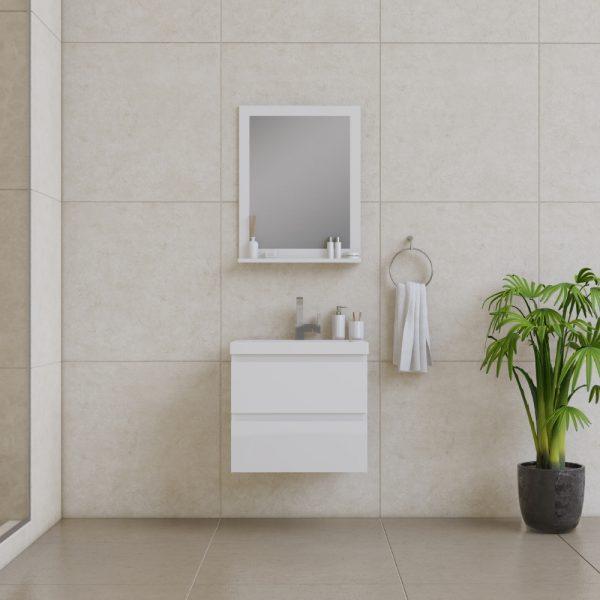 Alya Bath Paterno 24 Inch Wall Mount Bathroom Vanity White